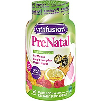 Vitafusion Pre Natal Gummy Vitamins Dietary Supplement, Lemon & Raspberry Lemonade Flavors, 90 Count (Pack of 2)