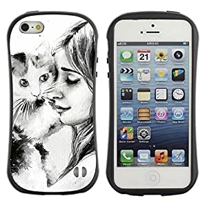 Fuerte Suave TPU GEL Caso Carcasa de Protección Funda para Apple Iphone 5 / 5S / Business Style Cute Girl & Cat