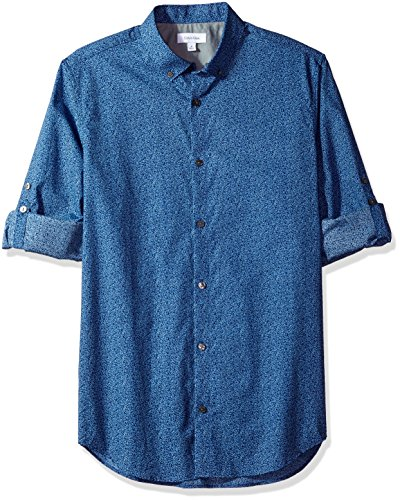 Long Sleeve Voile (Calvin Klein Men's Long Sleeve Voile Floral Roll-Tab Button Down Shirt, Cadet Navy, Small)