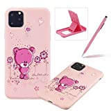 TPU Case for iPhone 11,Soft Cover for iPhone 11,Herzzer Ultra Slim Stylish [Bear Flower Pattern] Shock-Absorbing Flexible Rubber Silicone Gel Case