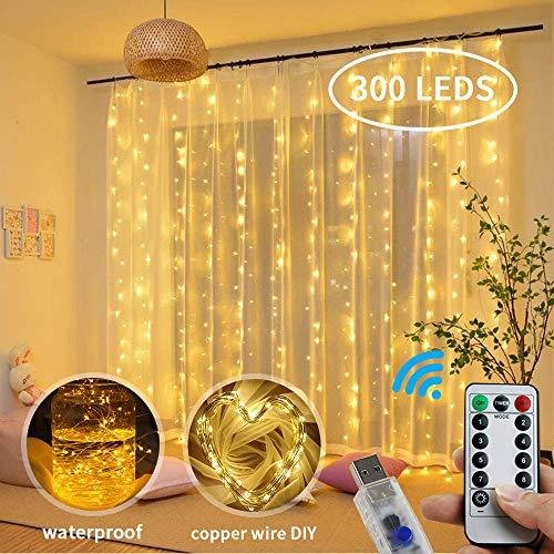 LOBKIN Lichterketten Vorhang, 300LED USB Lichtervorhang, Vorhanglicht Mit 8 Modi für Dekorative Innen- und Außenbeleuchtung Verwendet (Warmweiß)