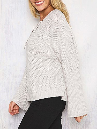 Simplee Apparel Women 's Autumn Casual Lace Up Front Flare Sleeve Jumper Loose Blanco
