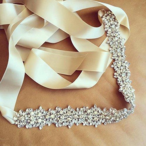 Unique Wedding Dress Sashes Belts: Full Crystal Bridal Sash Rhinestone Wedding Sash Prom