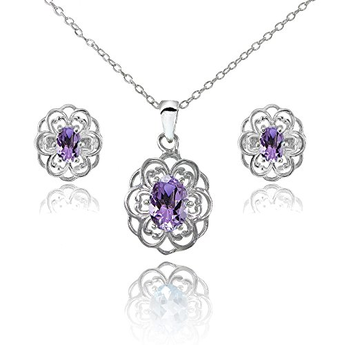 Sterling Silver Amethyst Oval Filigree Flower Pendant Necklace and Stud Earrings Set