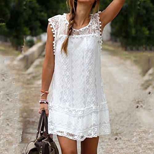 Voinnia Women's O Neck Crochet Hollow Lace Mini T-shirt Dress