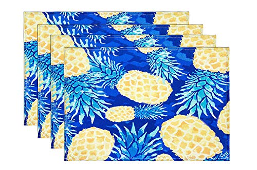 - HONEYJOY 4 Pcs Washable Cotton Linen Placemats Pineapple Pattern Textile Rectangle Heat-Resistant Non-Slip Non-Fading Decorative Dining Table Mats Set for Home Kitchen Office Blue (13