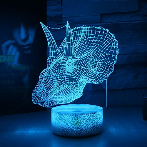 Dinosaur Illusion Night Light for Kids Birthday Gifts Optical Desk Lamp Table Touch Nursery Walking Animals Party Western Children Room Decor 7 color Changing USB Crackle New Years You 2018