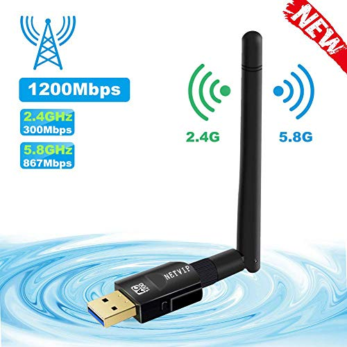 WiFi Adapter 1200Mbps WiFi Dongle Mini Network LAN Card with 2dBi External Antenna 5.8GHz/2.4GHz Dual Band WiFi Card for PC High Gain Antenna Work with Win 7/8/10/Vista/XP MAC OS X LINUX