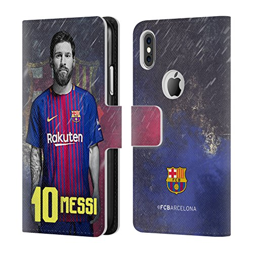 Official FC Barcelona Lionel Messi 2017/18 First Team Group 1 Leather Book Wallet Case Cover For Apple iPhone X