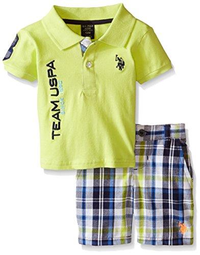 Baby Pique Polo - U.S. Polo Assn. Baby Boys' Polo and Short, Yellow, 6-9 Months