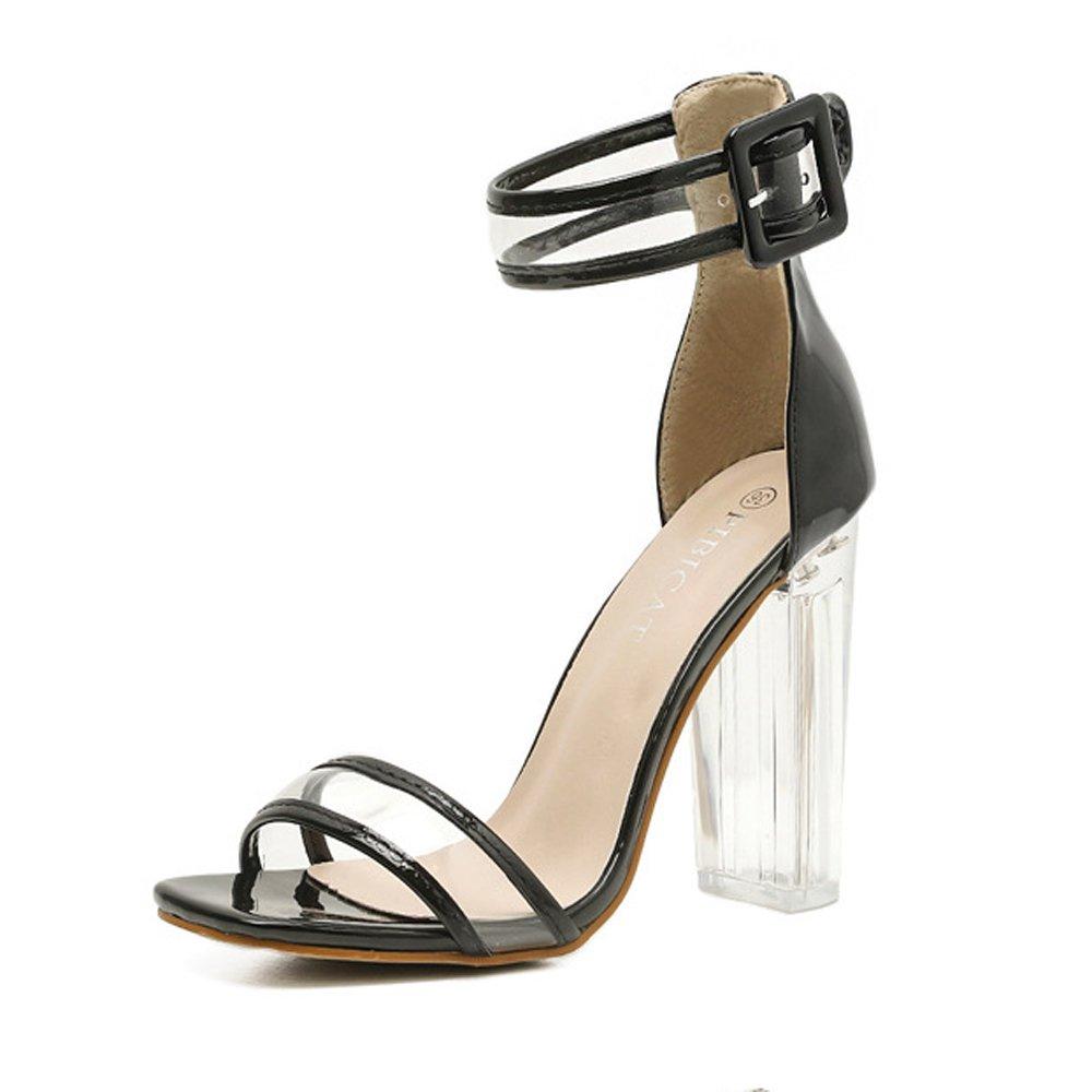 Damenschuhe Sommer High Heels Einfache Transparente Kristall Mit High Heels Farbeblock Dick Mit Sandalen GAOLIXIA