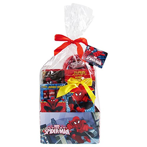 Spider-Man Themed Gift Tin Bundle - Puzzle, Stickers, Paddle Ball Set, Coin Bank & More