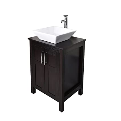 24 Inches Traditional Bathroom Vanity With Ceramic Porcelain Sink Top MDF Wood Single Vessel Sink Bowl Faucet Set