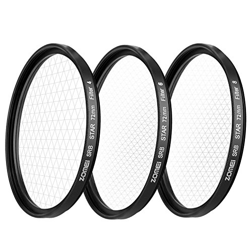 ZOMEi 3 Pieces Star Filter +4 / + 6 / + 8 Points Star Filter - 72mm for Canon Nikon with WINGONEER Diffuser