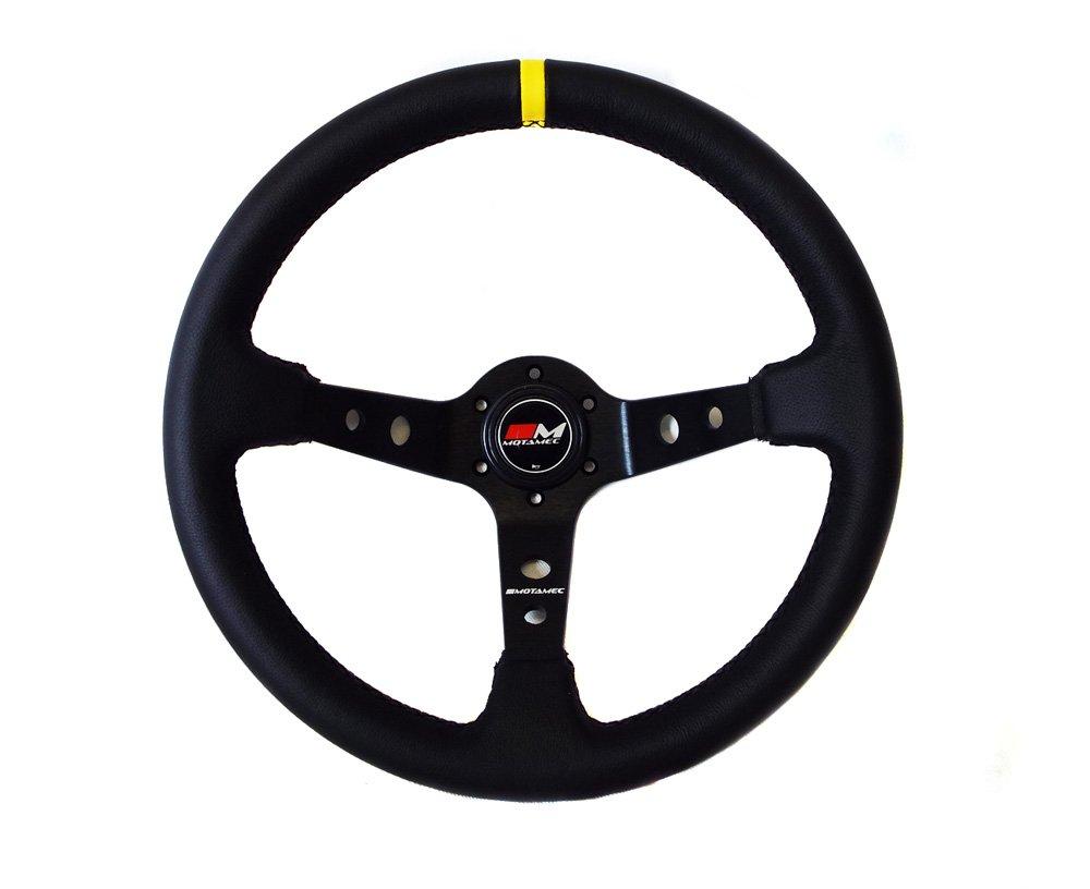 Motamec Rally Steering Wheel Deep Dish 350mm Black Leather Black Spoke