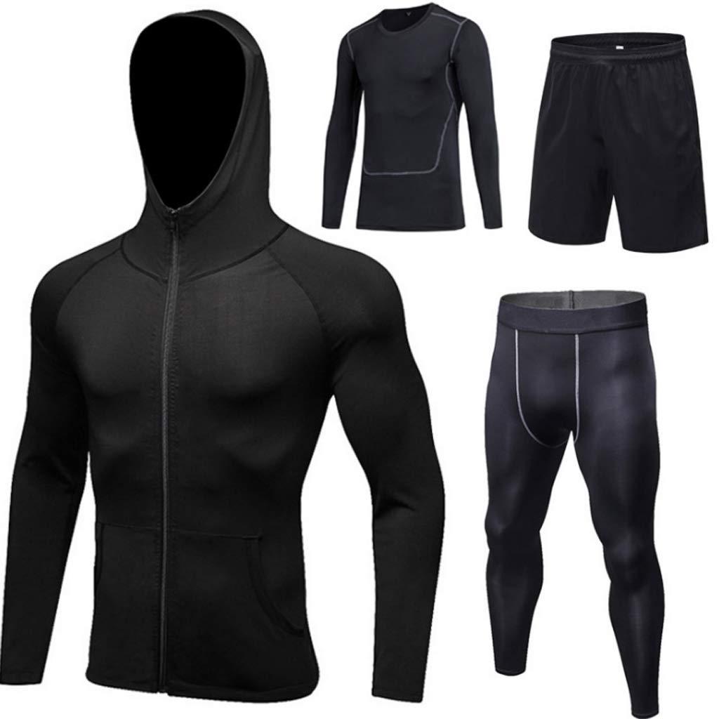 Lilongjiao Herren PRO Sport Strumpfhosen Anzug Vier Sätze von Outdoor-Freizeit Fitness Trainingsanzüge Stretch Fitness Kleidung Sportbekleidung