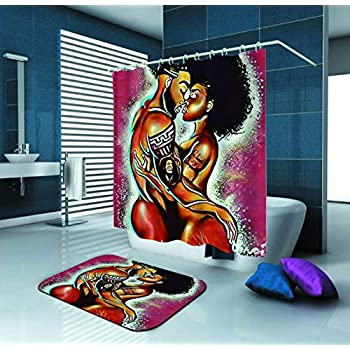 SARA NELL Shower Curtain African American Couple Lover Art Oil Painting Waterproof Polyester Fabric Shower Curtain (72