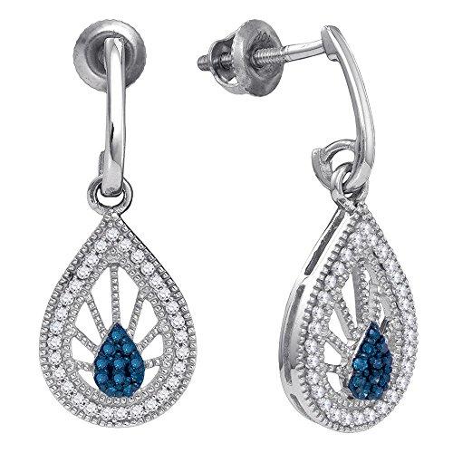 Blue Diamond Teardrop Dangle Earrings 10k White Gold J Hoops Hanging Drops Fashion Style Fancy 1/4 Cttw ()