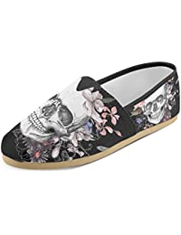 Women's Loafers Classic Casual Canvas Slip On Fashion Shoes Sneakers Flats Skull Pink Flowers