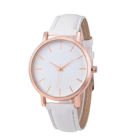 Relojes Pulsera Mujer, Cuero PU Acero Inoxidable Analógico Cuarzo Reloj (Blanco)