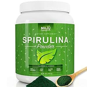 MAJU's California Grown Spirulina Powder (2 POUND): Non-Irradiated, Non-GMO, Spirulina Recipe eBook with Purchase, Vegan, Gluten-free