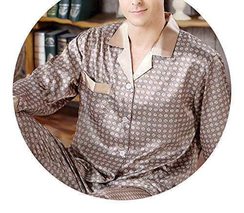 Pursuit-of-self 2018 New Spring Autumn Mens Silk Satin Pajamas Long Sleeve,5005 Champagne,L ()