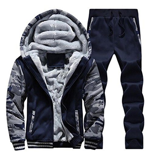 YANG-YI HOT Mens Tracksuit Warm Fleece Sport Hooded Sweatshirt Coat Hoodies+Pants Sweat Suit (4XL, Blue)