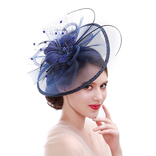 HNBQMX Sinamay Fascinator Hat Cocktail Headwear for Brridal Headpiece with Veil (Navy) by HNBQMX