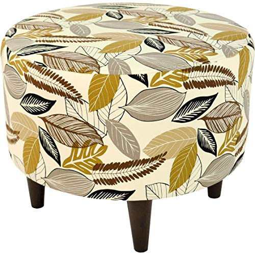 MJL Furniture Designs Sophia Collection Flora-Foliage Series Contemporary Round Ottoman, Driftwood/Brown/Tan/Black/Wooden Legs