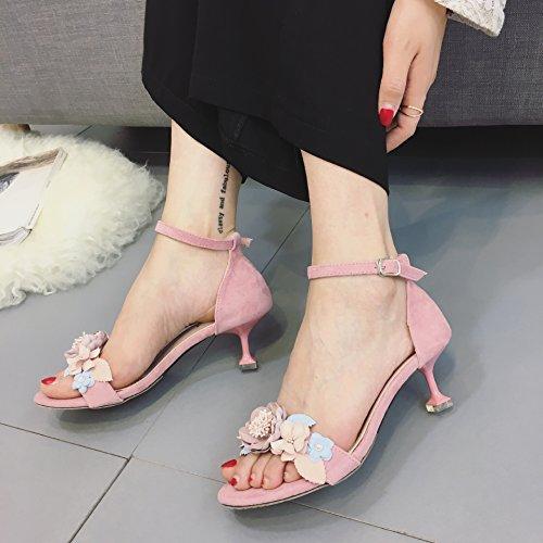 ZPPZZP Ms sandali a tacco alto stile Coreano punta aperta scanalato a tacco alto fiori rosa e 38EU
