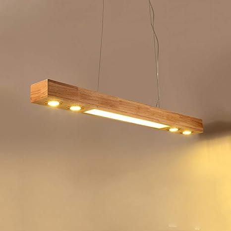ZMH LED luz colgante madera rústica mesa de comedor lámpara ...