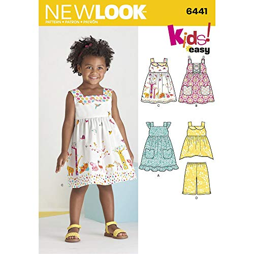 3 Sewing Patterns - New Look Patterns Toddlers' Easy Dresses, Top and Cropped Pants Size A (1/2-1-2-3-4) 6441