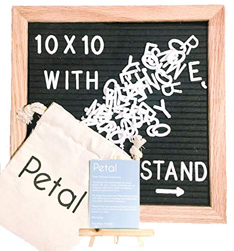 PETAL 10x10 Felt Letter Board: Felt Letter Board with 300 White Characters, Message Board with Stand