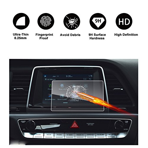 2018 Hyundai Sonata Blue Link Touch Screen Car Display Navigation Screen Protector, RUIYA HD Clear TEMPERED GLASS Car In-Dash Screen Protective Film (7-Inch)