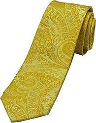 Zarrano Skinny Tie 100% Silk Woven Yellow Floral Paisley Tie