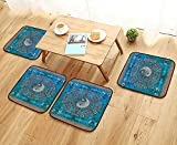 Leighhome Comfortable Chair Cushions and Yang Print Octagon Circle with Asian Ethnic Balance Wisdom and Harmony Yoga Reuse can be Cleaned W17.5 x L17.5/4PCS Set
