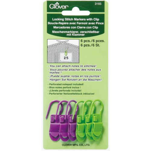 Clover 3165 Locking Stitch Markers with Clip (6-Pack), Green/Purple (Stitch Markers Purple)