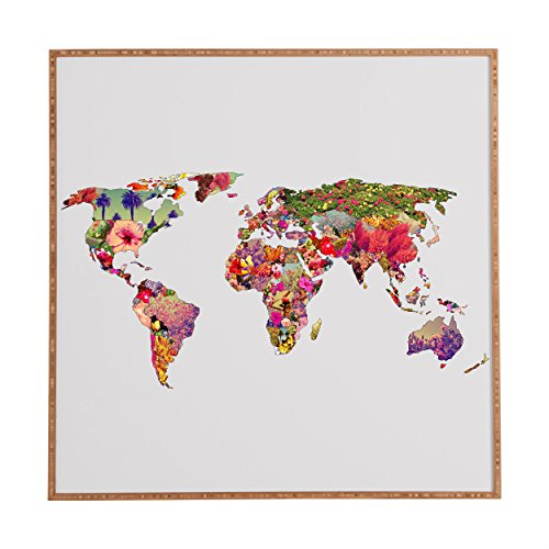 Deny Designs Bianca Green Its Your World Framed Wall Art, 30 x 30 by Deny Designs