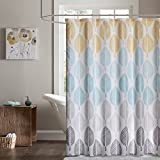 Central Park Design Modern Shower Curtain, Botanical Casual Shower Curtains for Bathroom, 72 X 72, Yellow/Aqua