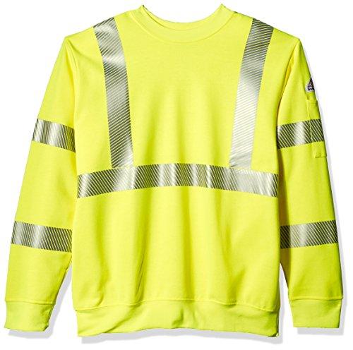 Bulwark Men's Hi-Visibility Crewneck Fleece Sweatshirt, Yellow/Green, X-Large