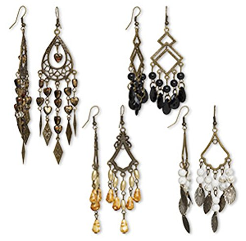 4 Pair Chandelier Boho Earrings Antiqued Brass Mix Hook Earwires Steampunk