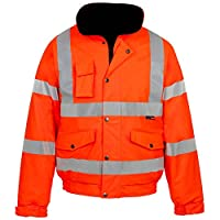 Outofgas New Men's HI VIZ Bomber Jacket Waterproof Padded Hooded Coat HIGH Visibility Work Jacket 4