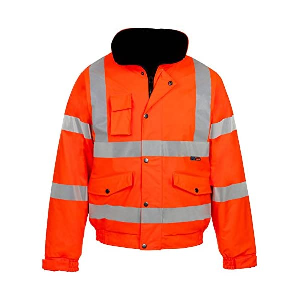 Outofgas New Men's HI VIZ Bomber Jacket Waterproof Padded Hooded Coat HIGH Visibility Work Jacket 1