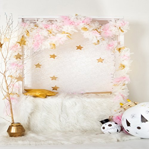 6 x 6 ft Halloween Funny Devil Light Fundos Fotograficos White Lush Blanket Newborn Kids Birthday or Party Photo Booth Photo Backdrops with Golden Stars