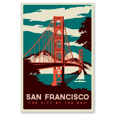 Amazon com san francisco city by the bay vintage poster vinyl sticker select size posters prints