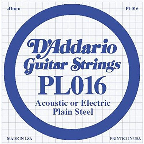 UPC 019954211141, D'Addario PL016 Plain Steel Guitar Single String, .016