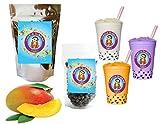 10+ Drinks Mango Boba Tea Kit: Tea Powder, Tapioca Pearls & Straws By Buddha Bubbles Boba