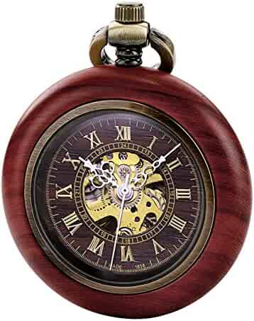 TREEWETO Vintage Wood Automatic Mechanical Pocket Watch for Men Women Steampunk Skeleton Dial with Chain + Gift Box