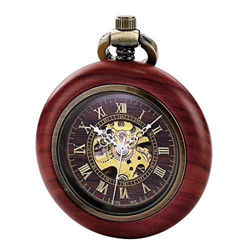 TREEWETO Vintage Wood Automatic Mechanical Pocket Watch for Men Women Steampunk Skeleton Dial with Chain + Gift Box by TREEWETO