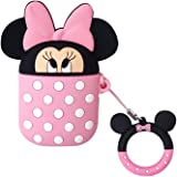 DISNEY COLLECTION Airpods Case, 3D Cute Cartoon Airpods Cover Accessories Soft Silicone Wireless Charging Headphone Case Shockproof Protective Cover Skin for AirPods 1/2(Minnie Mouse)